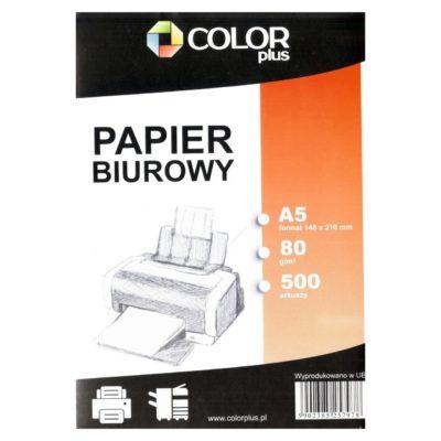 Biały papier biurowy w formacie A5.